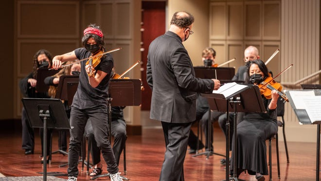 Soloist Charles Yang performed with the Peoria Symphony Orchestra while recording of the opening concert of the 2020-2021 season, which aired on public television and radio Sept. 26.