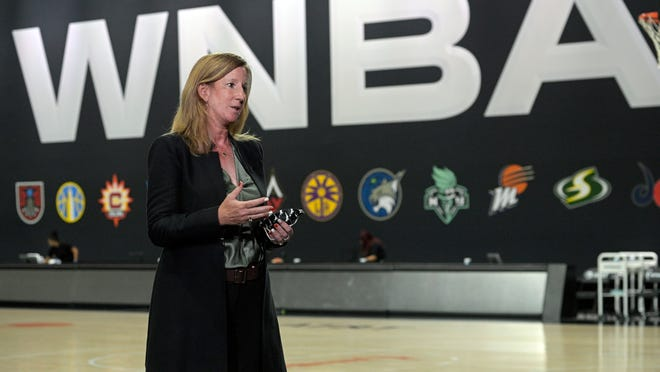 WNBA Commissioner Cathy Englebert is focused on the growth of her league as it emerges from the pandemic, looks to further promote its players and possibly considers expansion.