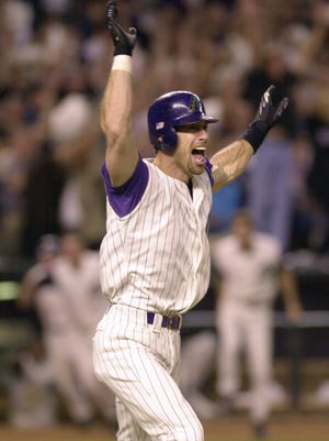 Luis Gonzalez after hitting the walk-off RBI single to win Game 7 in the 2001 World Series.