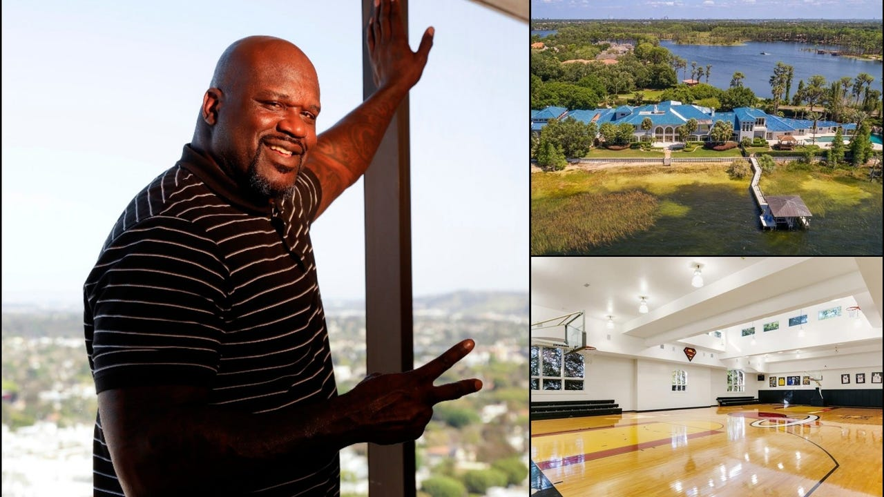Shaquille O'Neal's $28 million waterfront estate hit the market Thursday and, yes, it has basketball court. And so. Much. More.