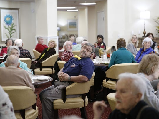 Mulligan Park residents gather for lunch in the dining room at the new independent retirement community. Meals are prepared from scratch on site three times a day.