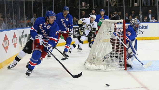 Ryan McDonagh #27 of the New York Rangers skates against the Pittsburgh Penguins in Game Three of the Eastern Conference First Round during the 2016 NHL Stanley Cup Playoffs at at Madison Square Garden on April 19, 2016 in New York City. The Penguins defeated the Rangers 3-1.
