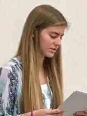 Pyper Schmutz of Snow Canyon High School reads her