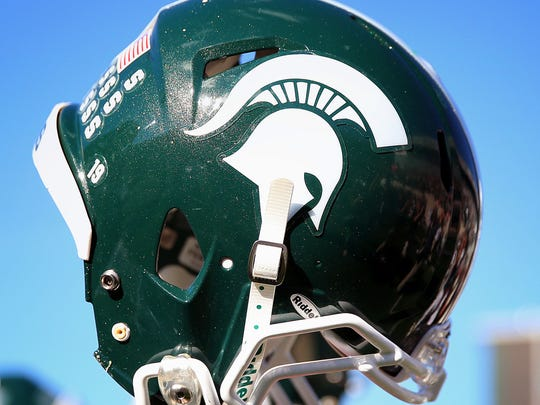 A view of the Michigan State Spartans helmet on Oct 12, 2013, after a game against the Indiana Hoosiers at Spartan Stadium.