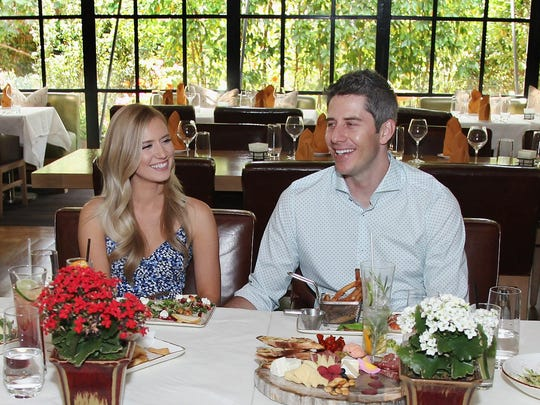 """The Bachelor"" stars Arie Luyendyk Jr. and fiancee Lauren Burnham meet with WE tv's ""Marriage Boot Camp."""