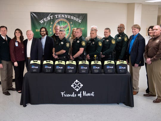 Eight automated external defribrillators (AED) were donated to the Madison County Sheriff's Office on Wednesday, March 7, 2018, at the West Tennessee Training Center in Adamsville.