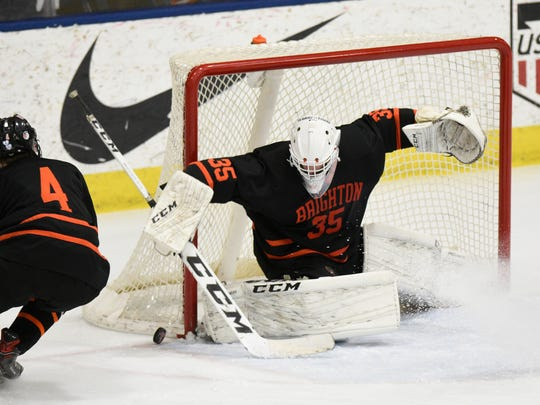 Harrison Fleming backstopped Brighton to a state Division 1 hockey championship on Saturday, March 10, 2018.