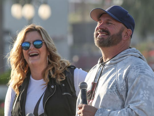 Garth Brooks and Trisha Yearwood hold a press conference at the Stagecoach Country Music Festival at Empire Polo Club. Mandatory Credit: Jay Calderon/The Desert Sun via USA TODAY NETWORK