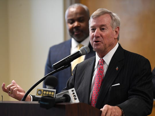 Montgomery Mayor Todd Strange speaks as the City and County of Montgomery and Alabama State University announce that ASU is joining the Montgomery Internet Exchange at the ASU campus in Montgomery, Ala. on Thursday May 24, 2018.
