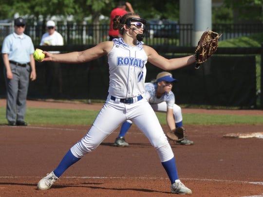 Assumption's Kendall Schill (11) winds up a pitch to