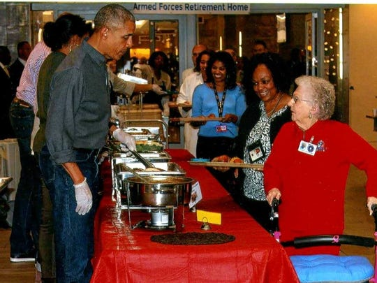 President Obama served Trudy Thanksgiving dinner last year.