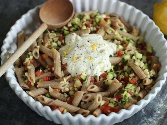 Penne With Tomatoes, Zucchini And Creme Fraiche