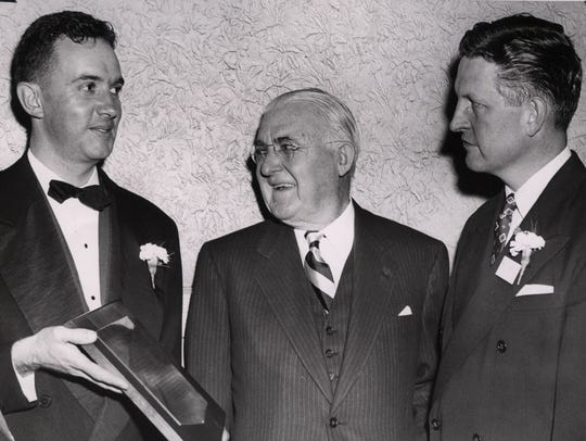 Paul Miller with Frank Gannett in undated 1940s photo.