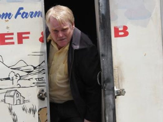 """Philip Seymour Hoffman on the set of  """"God's Pocket,"""" directed by John Slattery. Key scenes were shot in and around Flower Funeral Home on New Main Street in Yonkers. It is the last film Hoffman completed before his Feb. 2 death."""