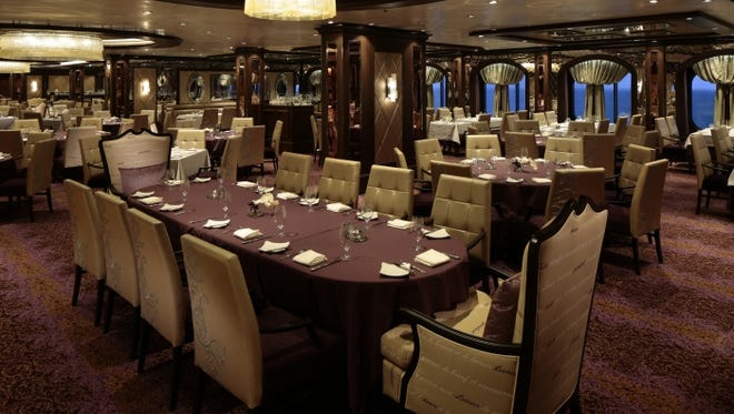 The Grande Dining Room on Royal Caribbean's Quantum of the Seas is one of four eateries available nightly at no extra charge.