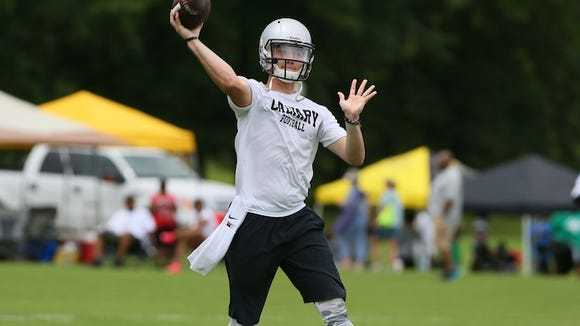 Calvary Baptist quarterback Shea Patterson throws to an open receiver in the Medicomp 7 on 7 tournament in Madison.