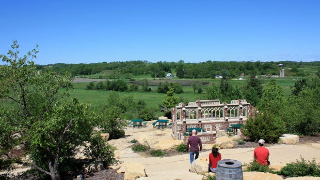 Visitors to New Glarus Brewing get a vista view of Green County from the beer garden.