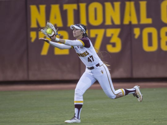 Arizona State outfielder Morgan Howe makes the catch