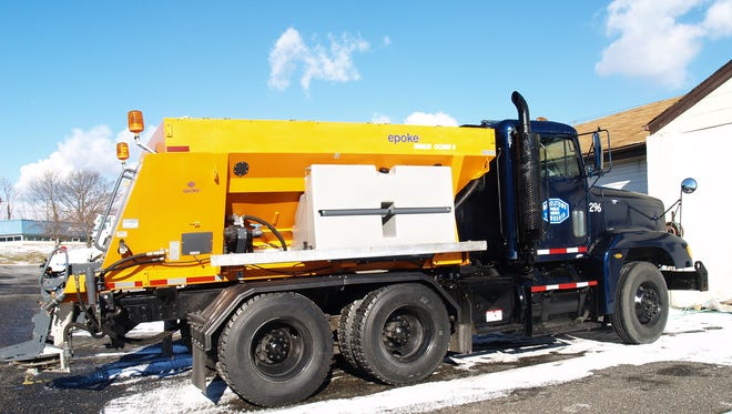 Brine and salt trucks like this one are contributing to rising chloride levels in the Metedeconk River. Those chloride levels are leaching lead from pipes and solders in some homes.