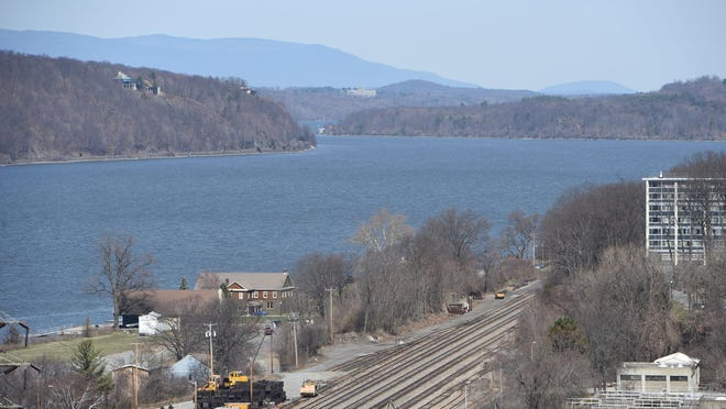 A view of the Hudson River, as seen from the Walkway Over the Hudson State Historic Park in the City of Poughkeepsie.