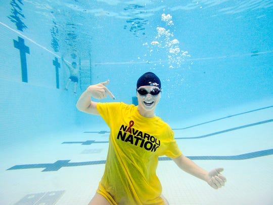 York Suburban swimmer Erin Merkle poses in a shirt