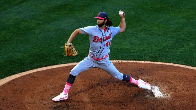 Tigers pitcher Daniel Norris throws during the first inning against the Los Angeles Angels at Angel Stadium on May 13, 2017 in Anaheim, Calif.