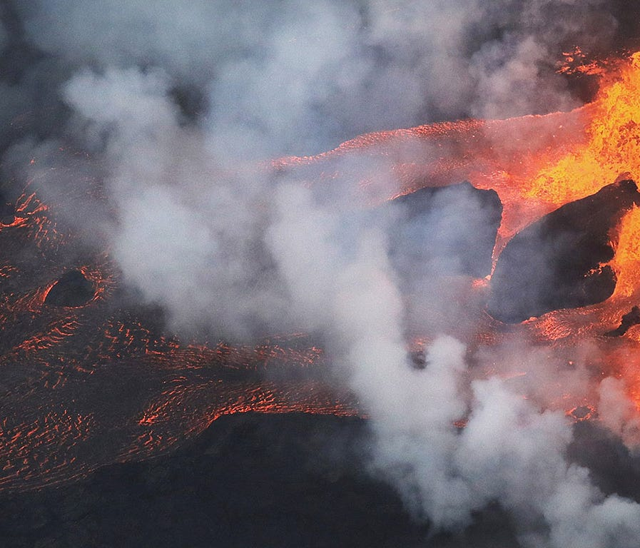 1. Kilauea, Hawaii     • Threat score:  324     • Last eruption year:  2018     • Pop. within 30 km:  8,495     • Pop. within 100 km:  169,550     ALSO READ: Worst County to Live i