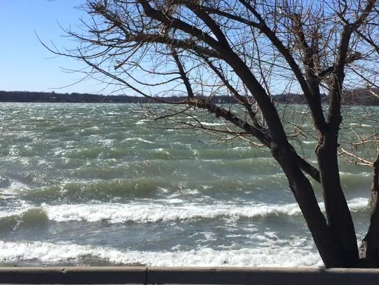 Strong winds on Orchard Lake on Wednesday, March 8,