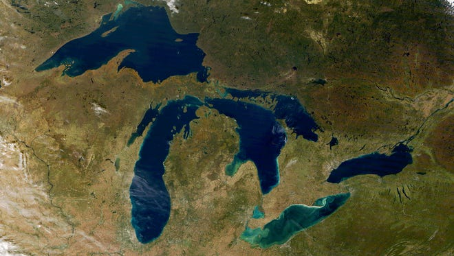 The Great Lakes—Superior, Michigan, Huron, Erie and Ontario along with Georgian Bay, the North Channel and Lake St. Clair on Oct. 20, 2017.