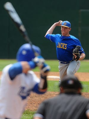 SDSU's Chad Hodges delivers a pitch against Fort Wayne during the Summit League tournament game Friday at Sioux Falls Stadium.