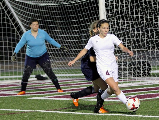 Camryn Bolick controls the ball in front of the goal