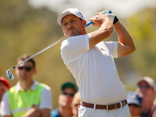 Sergio Garcia plays his shot from the second tee during the final round of the Valspar Championship golf tournament Sunday, March 11, 2018, in Palm Harbor, Fla. (AP Photo/Mike Carlson)