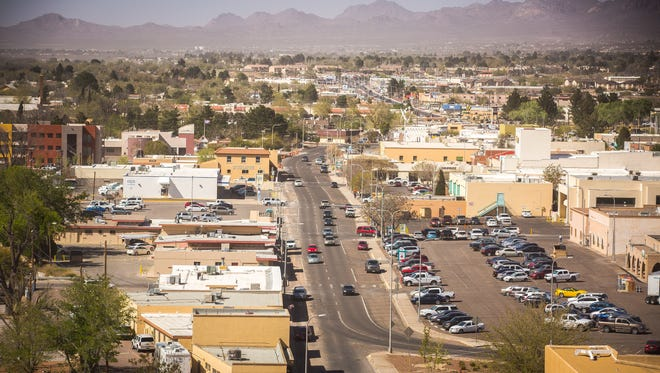 Water Street, running from north to south, as seen from the ninth floor of the Las Cruces Tower, March 23, 2016.