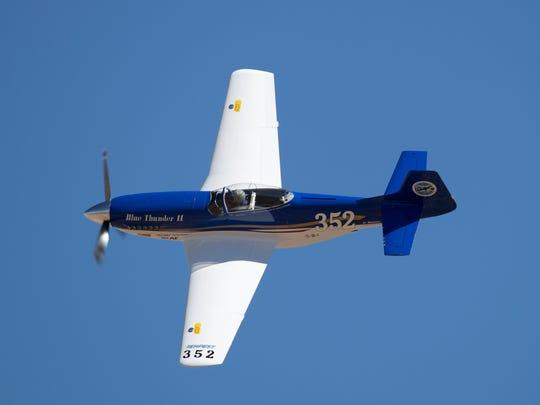 John Parker, from Reno, flies his Mustang Blue Thunder