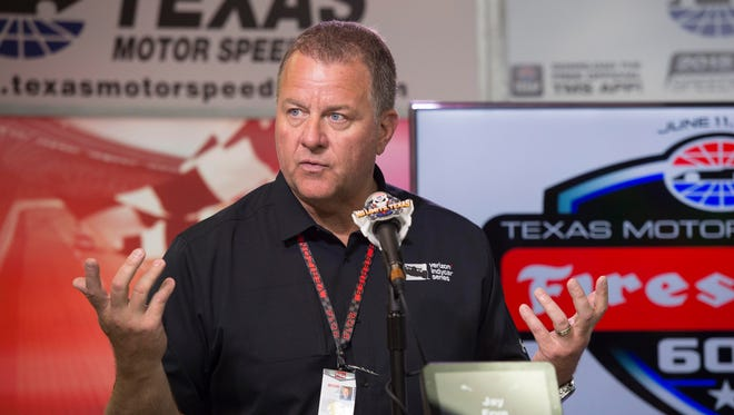 IndyCar president Jay Frye discusses the weather shortened Firestone 600 at Texas Motor Speedway. Frye announces that the race will resume on August 27, 2016.