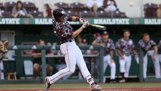 Reid Humphreys, pictured earlier this season, hit two home runs in Mississippi State's victory against Georgia on Thursday night.