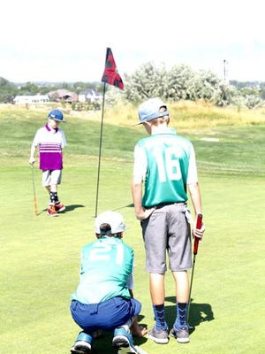 PGA Junior Golf League play featured two-player teams in a scramble format, with a team allowed to substitute players at any time during a nine-hole match.