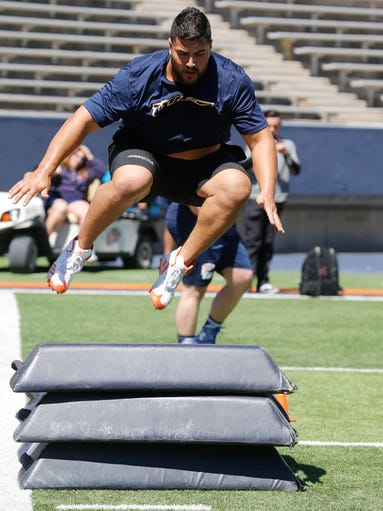 Will Hernandez, a former UTEP offensive  lineman, goes