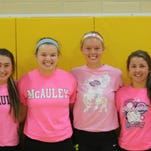 McAuley High School's senior volleyball players practice Aug. 26. They are, from left: Blair Lamping, Ava Lawson, Taylor Otting, Sydney Kreimer, Abby Sander and Claire Lynch.