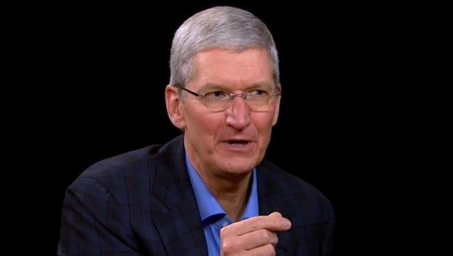 Apple CEO Tim Cook on the set of Charlie Rose.