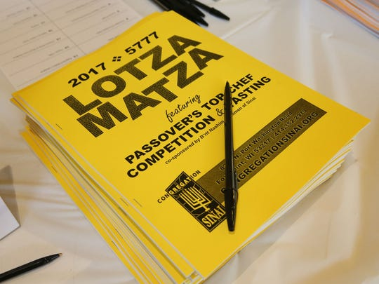 """Lotza Matza"" recipe booklets contain 42 recipes for Passover, including all 19 contest entries. The books are for sale at the synagogue."