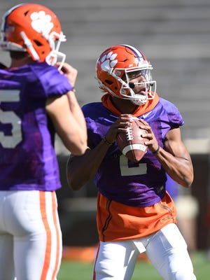 Clemson quarterback Kelly Bryant (2) during the team's practice on Wednesday, April 4, 2018 at Clemson's Memorial Stadium.