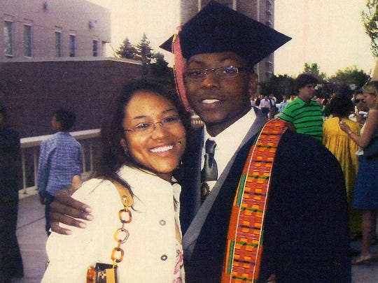 CSU graduates Javad Marshall-Fields, right, and Vivian Wolfe, both 22, were shot several times while they sat in a car at an intersection in Aurora in 2005.