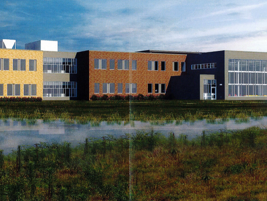 artist rendering of the back of the middle school proposed