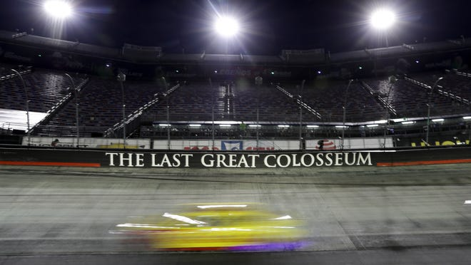A car runs during a NASCAR All-Star auto race at Bristol Motor Speedway in Bristol, Tenn, Wednesday, July 15, 2020.