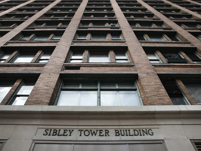 Exterior of  the Sibley Buidling facing the Liberty Pole at Main and Franklin St downtown.