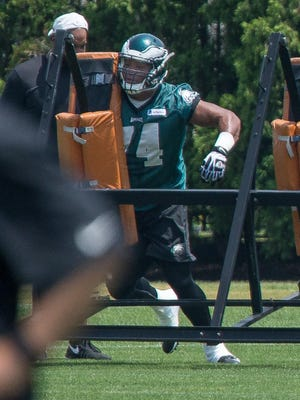 Eagles lineman Malcolm Bunche (74) during OTAs at the NovaCare Complex on May 28.