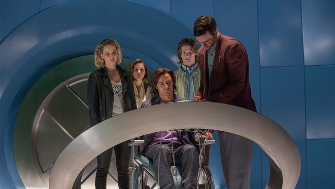 "From left, Jennifer Lawrence as Raven / Mystique, Rose Byrne as Moira MacTaggert, James McAvoy as Charles / Professor X, Lucas Till as Alex Summers / Havok and Nicholas Hoult as Hank McCoy / Beast, in a scene from ""X-MEN: APOCALYPSE."""