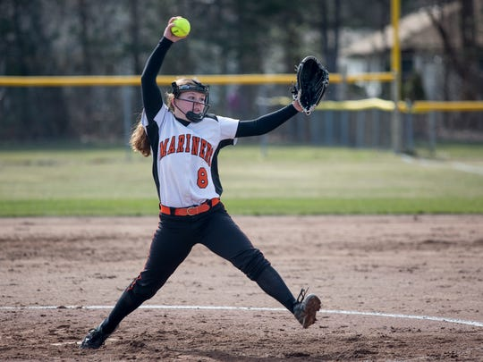 Marine City's Hally Uppleger throws a pitch during