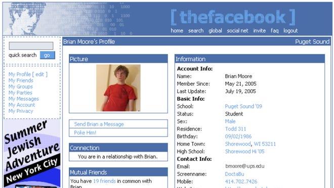 Screenshot of an original Facbook profile.